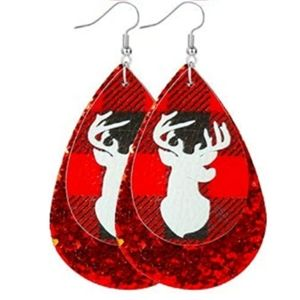 Jewelry - 🆕Red Glitter Buffalo Plaid Christmas Earrings